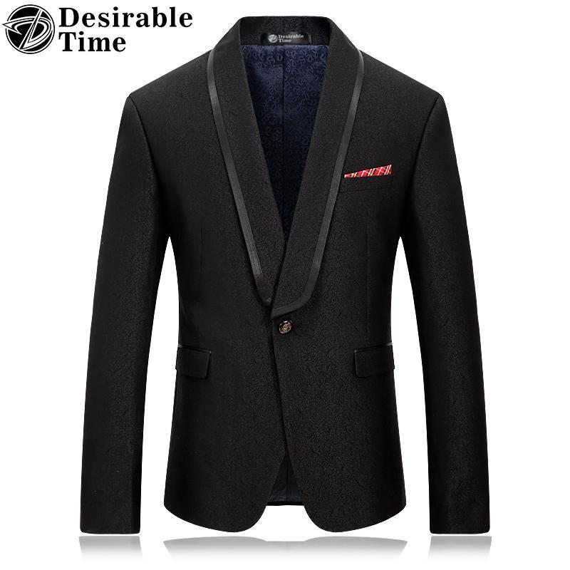 Giacca da uomo Blazer nero stile Slim Fit Marchio di moda Abbigliamento collo a scialle da uomo Casual Blazer da ballo DT039