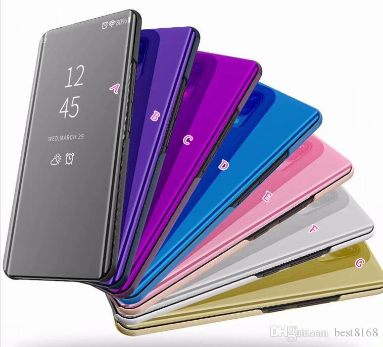 Mirror Wallet Official Case For Iphone XR XS MAX Galaxy Note 9(J4 J6 J8)2018 A9 Star Lite Flip Leather Plating Smart Window Metallic Chromed