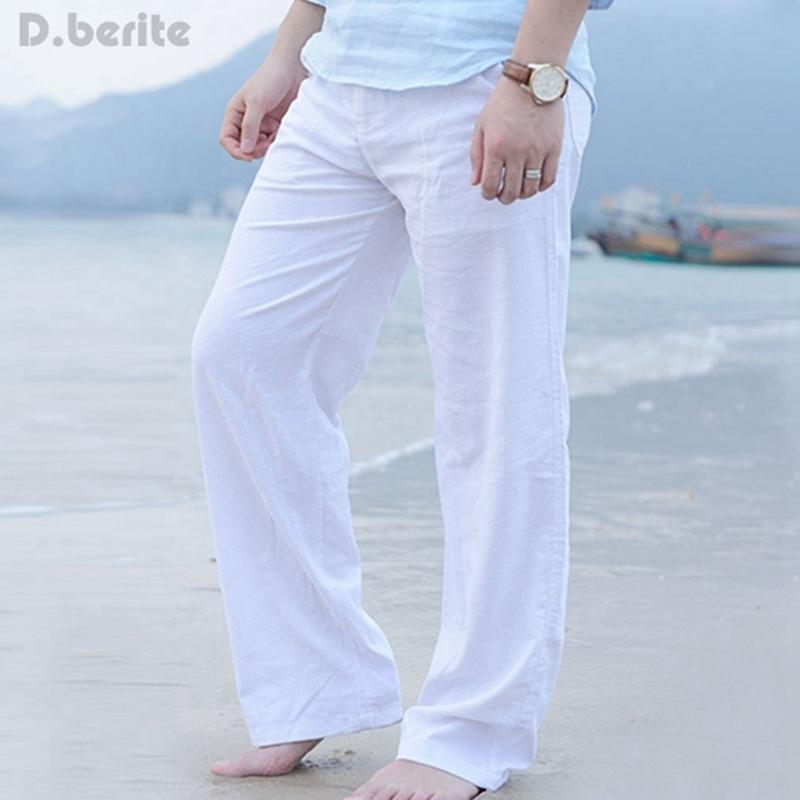 Compre Pantalones Sueltos De Lino Para Hombre Playa Cordon Pantalones Largos Pantalones Casuales Pantalones De Playa Daj9211 S18102001 A 21 5 Del Junlong02 Dhgate Com
