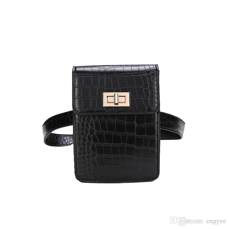 Alligator 2018 Latest Fashion Women Waist Pack PU Leather Belt Waist Bag Ladies Portable Phone Case Travel Belt Wallets Bolosa