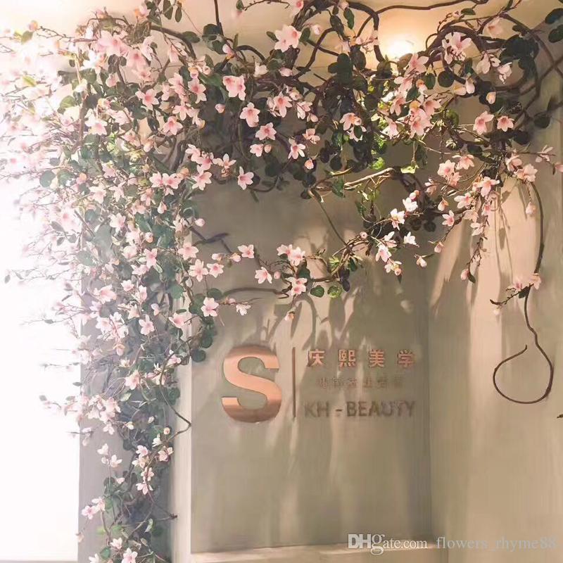 Flor de nylon videira artificial magnólia ramos artificiais haste longa arbitrária dobra nova seda falso Flor Rattan TV Parede Decoração Do Casamento
