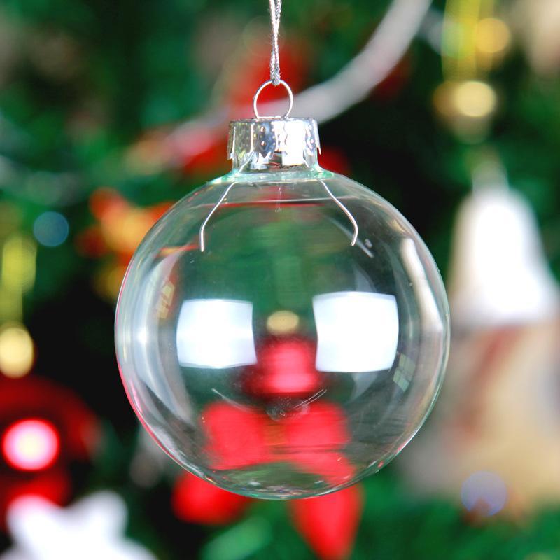 5pcs 8-10cm Christmas Tress Decorations Ball With Silver Cap Transparent Open Plastic Clear Ornament Christmas Tree Decorations