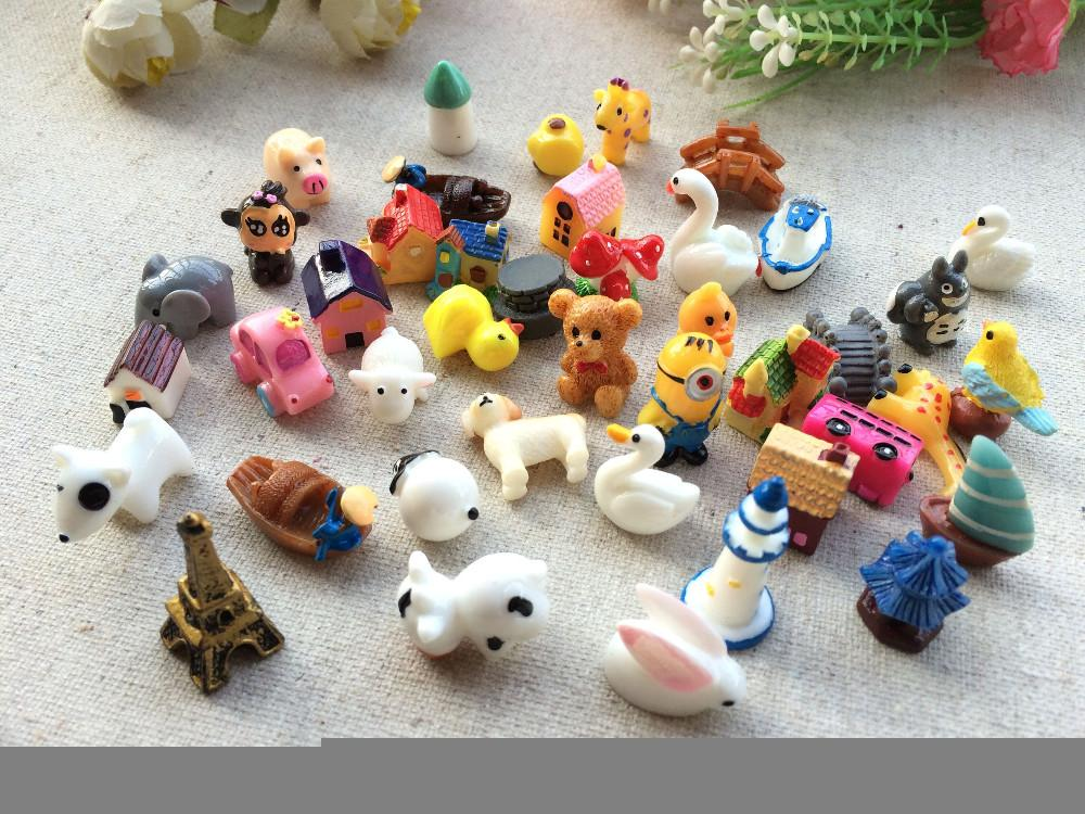 Каваи мультфильм животных дом смолы ремесло микс резина кабошоны Home Decor микро пейзаж сказочный сад миниатюры аксессуары