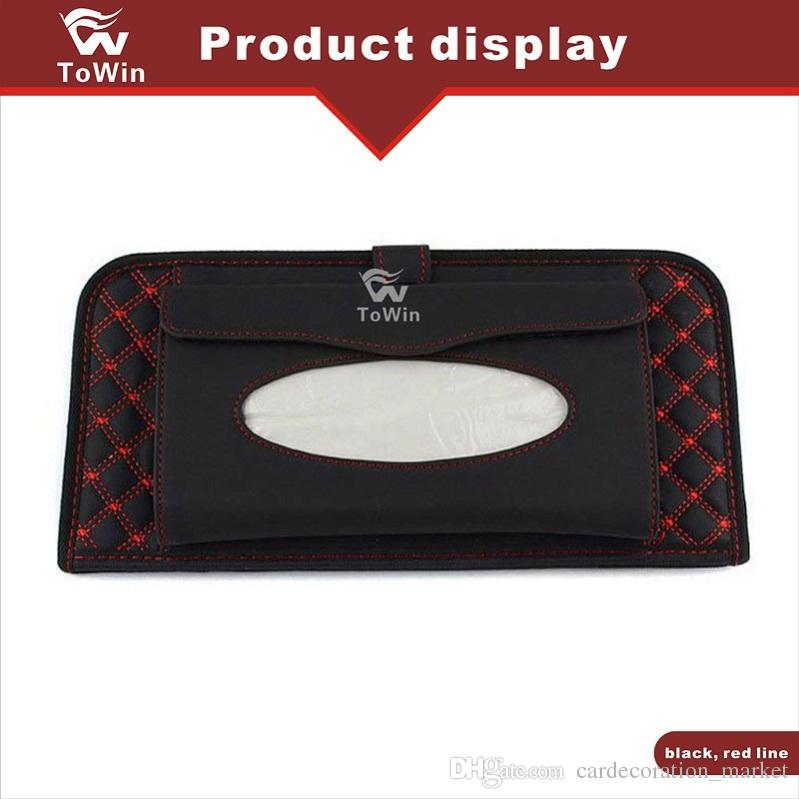 Tissue Car Holder Box Papel Retângulo Cover, caixa de couro Veículo PU / Presente de Natal / Decoração / Acessórios / Interior.