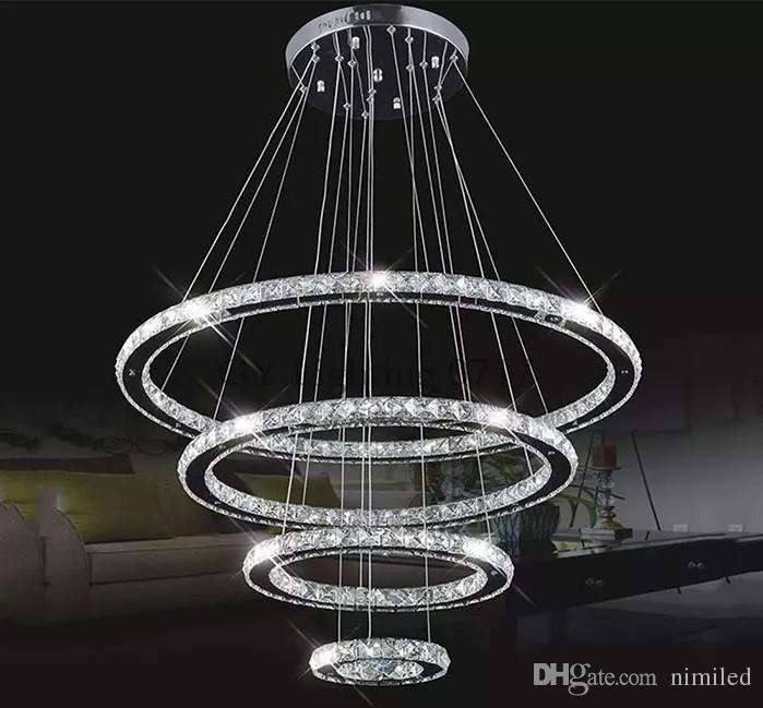 Lámpara LED moderna de cristal de acero inoxidable luz led Kroonluchter lámpara colgante 4 anillos diy diseño diamante araña LLFA