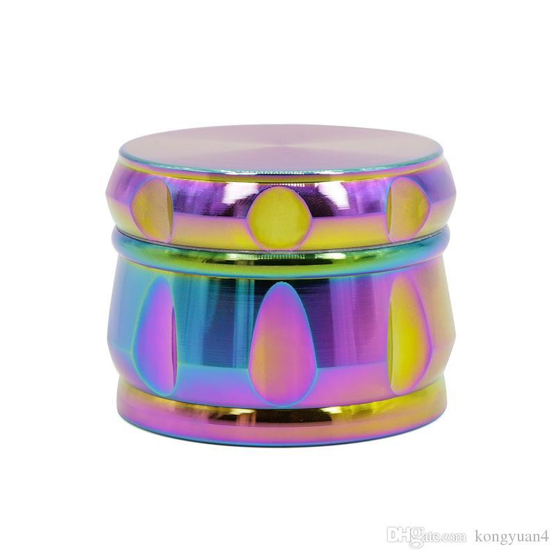 4 Schichten Regenbogen Gewürzmühle Farbe 63mm Durchmesser 46mm Höhe Zinklegierung Tabak Kräutermühle Rauchpfeife