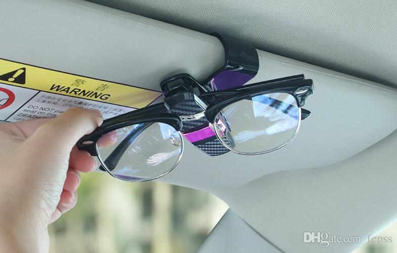 Carbon Fiber Car Glasses Clip Sunglasses Holder Car Card Holder Bill Holder Sight is Not Affected No Damage to Glasses 1 Pcs
