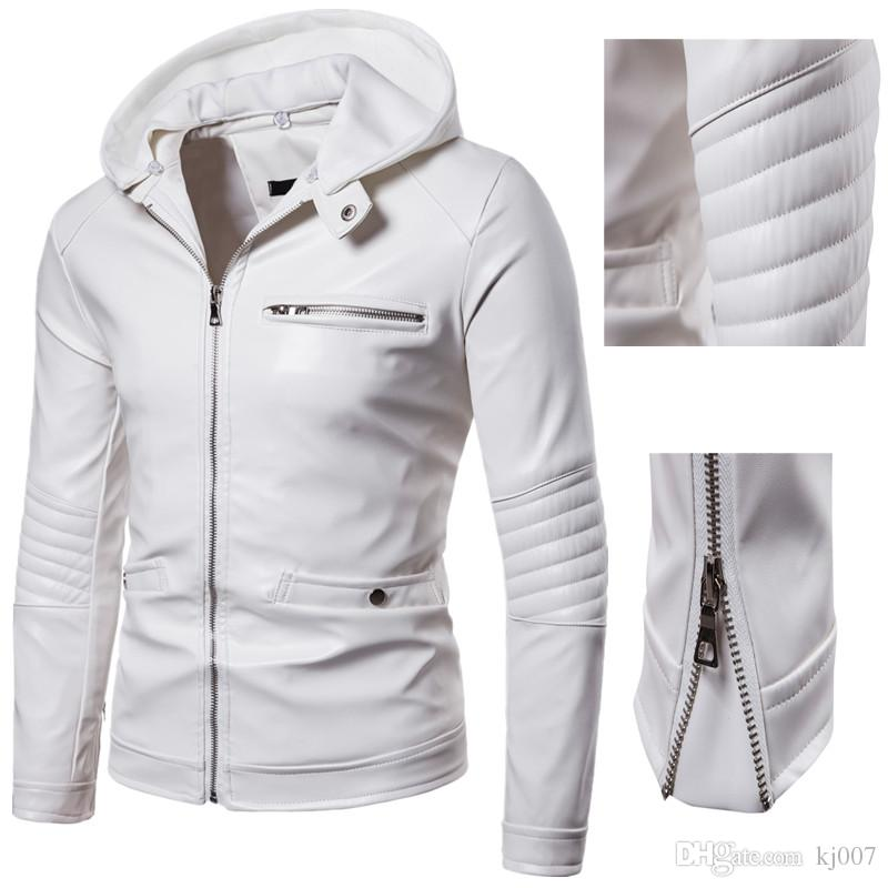 Mens Leather Jackets Zipper Motorcycle White Color Jacket PU Leather Jackets for Men Long Sleeve Fashion Coats Men's Outerwear Clothing Man