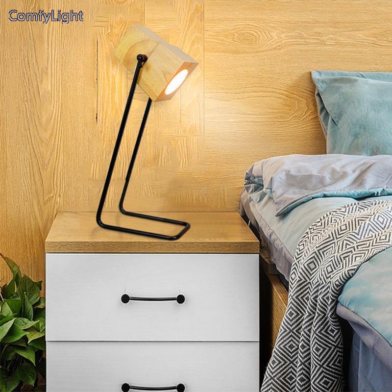 Nordic design Desk led lamp wood Lampshade Living Room/bedside Suspendsion Fixtures Lamparas reading table lamp kid night light