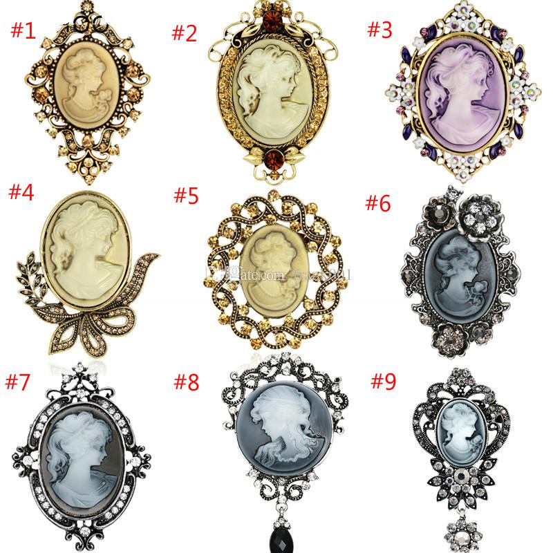 Rhinestone Trendy Painting Hollow Out Flower Vintage Style Cameo Beauty Head Brooch Elegant Antique Wedding Bouquet Brooch Pins