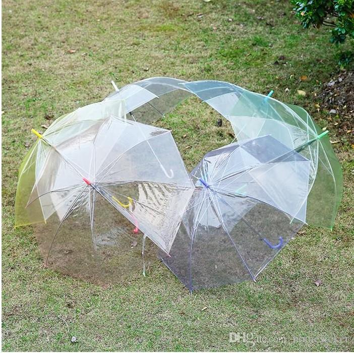 Transparent Clear EVC Umbrella Long Handle Rain Sun Umbrella See Through Colorido Paraguas para Lluvia Foto de Boda para Adultos Niños