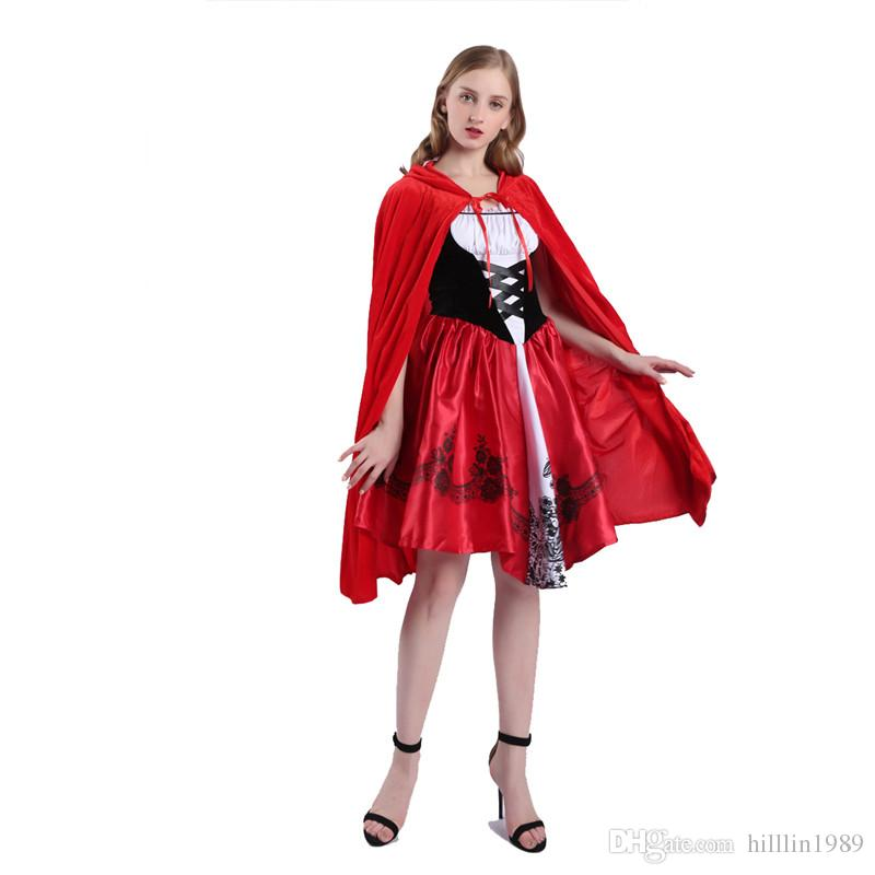 Halloween Little Red Riding Hood Costume for Women Carnival Stage Play Theme Costume Cosplay Fancy Dress