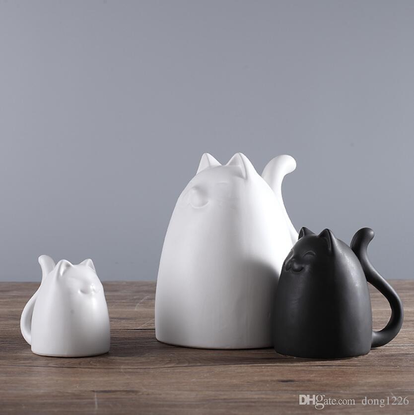 dessin animé mignon graisse céramique maneki neko décor à la maison artisanat chambre décoration porcelaine animal figurine chanceux chat artisanat ornement
