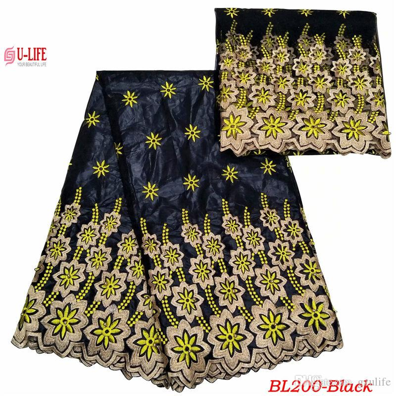 ulifelace wonderful Black Bazin Fabric embroidered African bazin riche lace fabric for match 2 Yards Net Lace party dress in stock BL-200