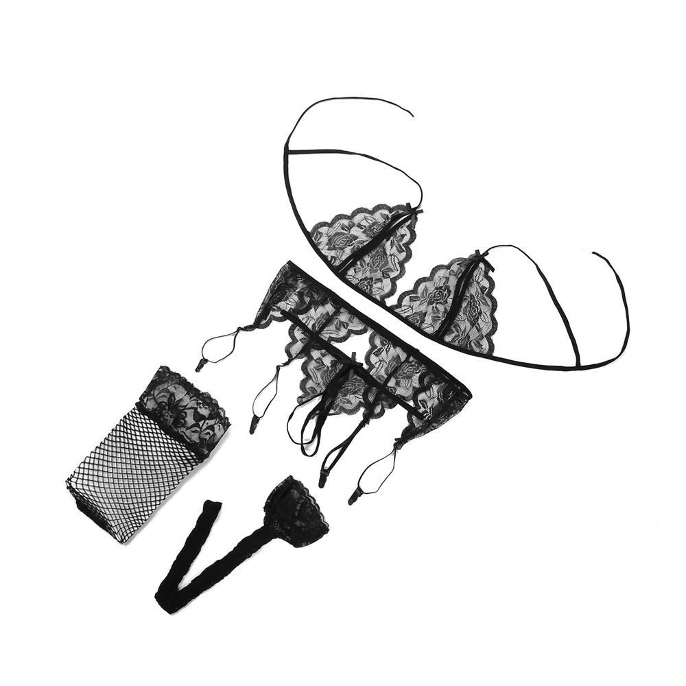 Hot New 4 pcs ensemble Femmes Intime Vêtements De Nuit Robe Sexy Lingerie Costume De Nuit Erotic Underwear livraison gratuite