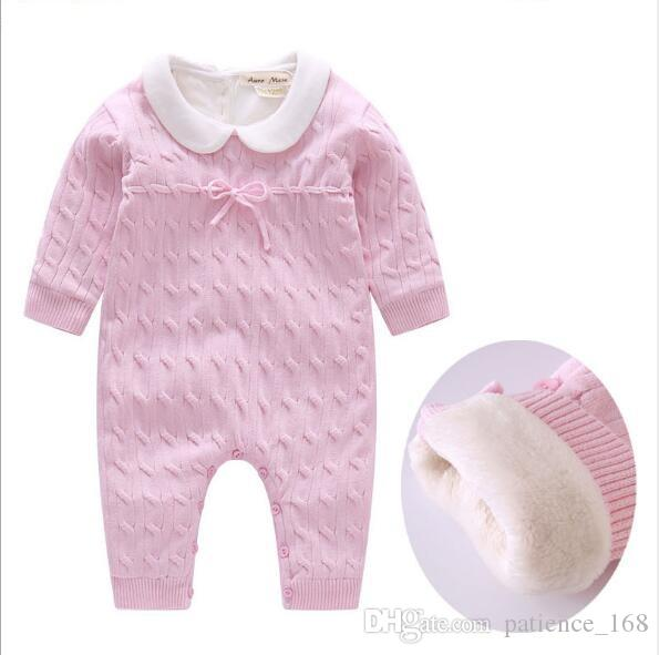 Velvet Strampler Newborn Heißer Verkauf Neuankömmlinge Winter Baby Kinder hochwertige Baumwolle Langarm halten warme Pullover verdickte Strampler 2 Farben