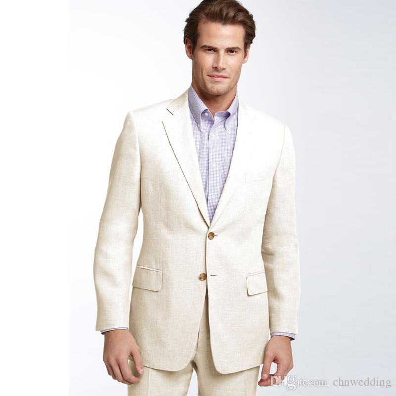 Khaki Slim Fit Men Suit Beach Boda novio esmoquin 2 piezas (chaqueta + pantalones) Birdegroom trajes mejor hombre Blazer Prom