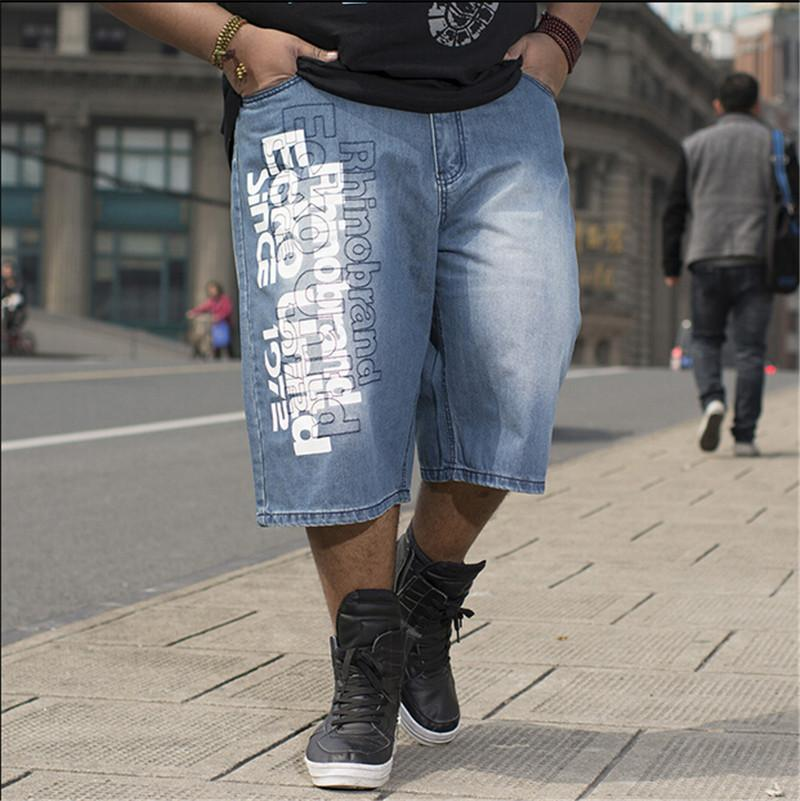 Wholesale- Baggy Jeans Shorts Men Hip Hop 2016 New Fashion Plus Size 30-46 Skateboard Calf Length Shorts Free Shipping