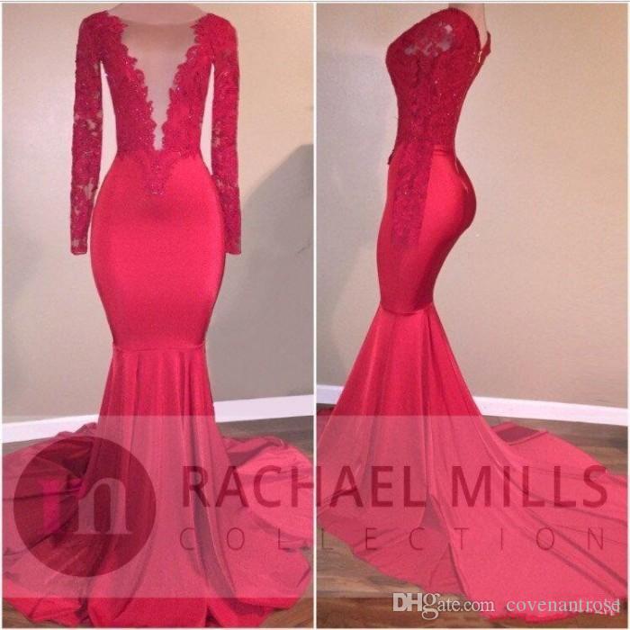 2K18 rouge sirène robes de bal soirée porter dentelle appliques paillettes robes de célébrités balayage train manches longues robe de soirée pas cher
