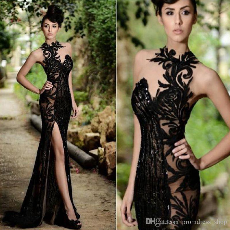 2019 New Beading Split Evening Dresses Appliqued High Neck Long Prom Dress vestidos de festa Cheap Formal Gowns