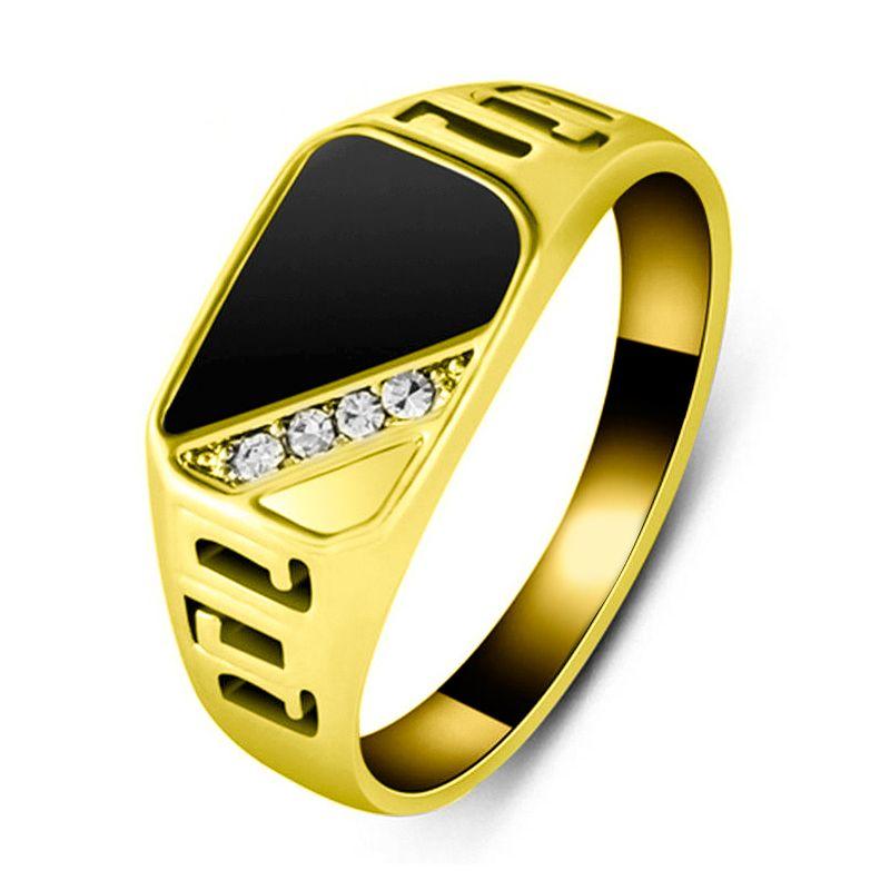 Moda Clássico Rhinestone Anel De Noivado Para Homens Anéis De Casamento Preto Banda Masculina Dedo Jóias 2 Cor Tamanho 7-12