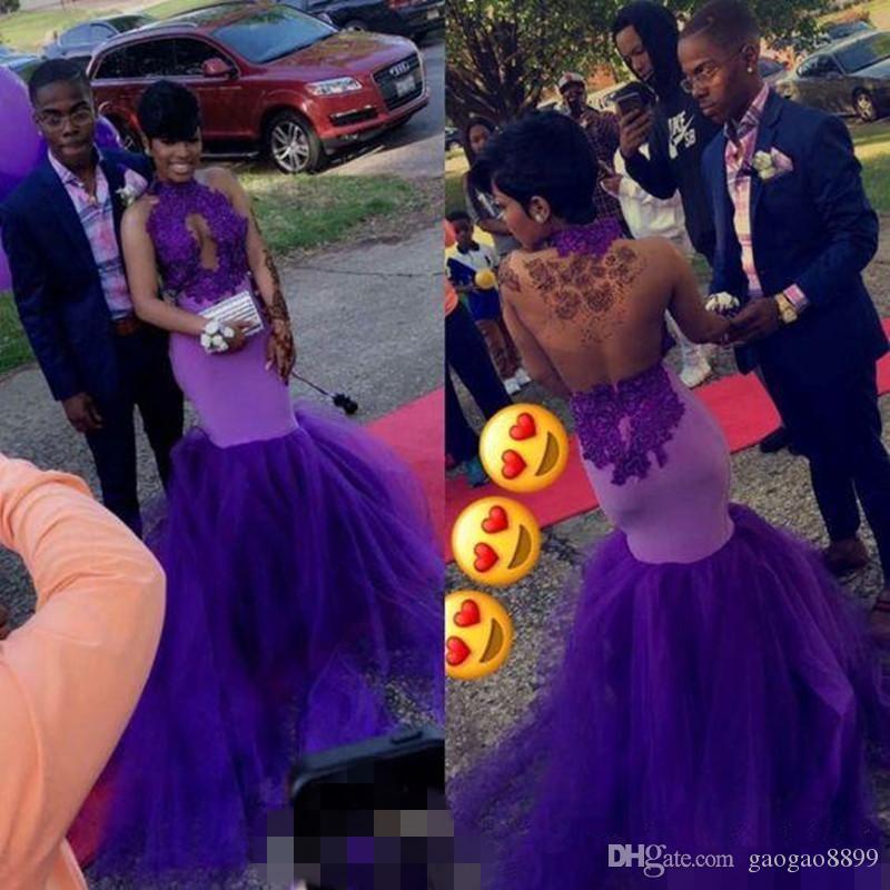 Sexy nero africano ragazza sirena prom dresses 2019 collo alto sweep strain tulle pizzo buco della serratura abiti da sera abiti da festa
