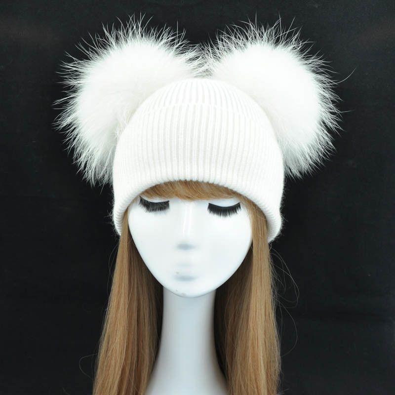 مزدوجة ريال الفراء بوم بوم قبعة المرأة قبعات الشتاء محبوك الصوف القبعات skullies بيني الفتيات الإناث اثنين الطبيعي الفراء بومب قبعة قبعة D18110102
