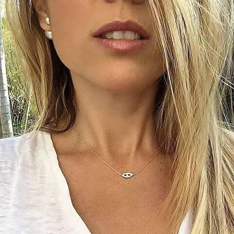 2018 Genuine 925 Sterling Silver Silver Lady Charm Collanes pavimentato pieno lucido cz con pendente fortunato occhio malvagio per ragazza carina gioielli fini