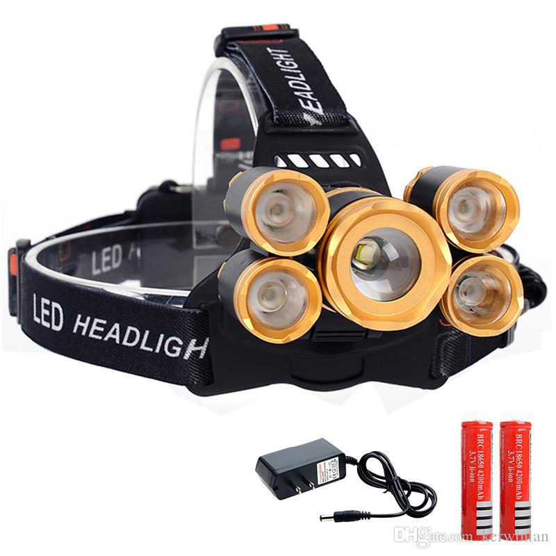 Alta brillante 5 LED faro 16000 lúmenes Cree XM-L T6 faro LED faro + 2 piezas 18650 batería + cargador