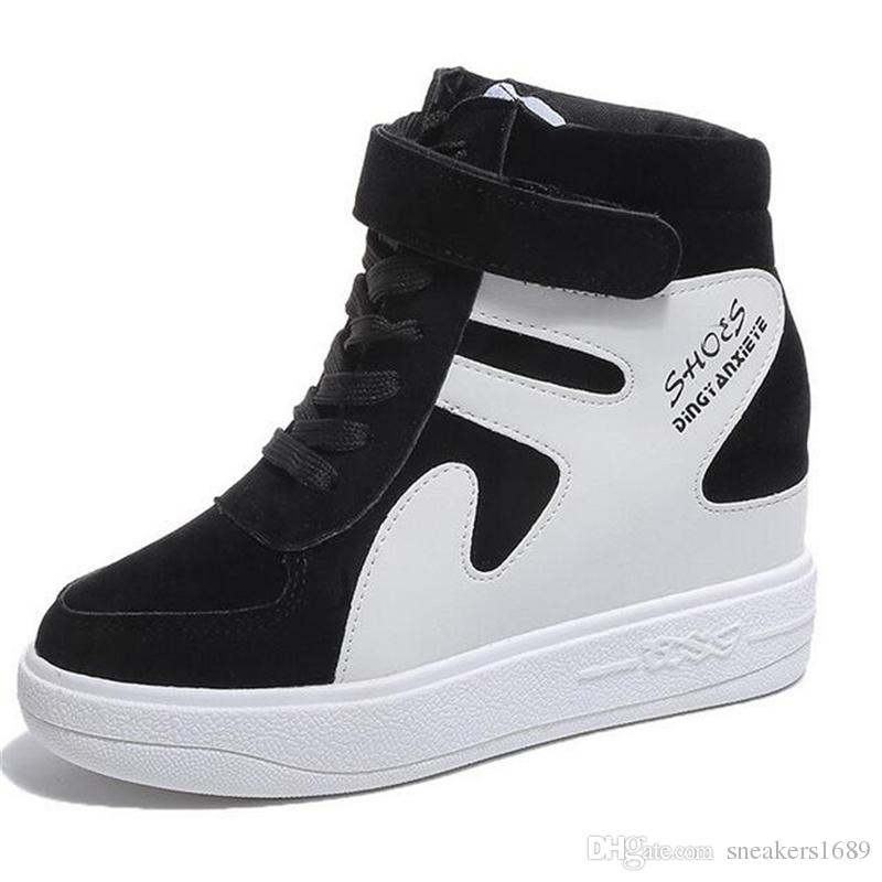 2019 neue koreanische Version der Mode zu erhöhen in der Plattform Schuhe hohe Stiefel Farbe passende Matte Leder Freizeitschuhe X21