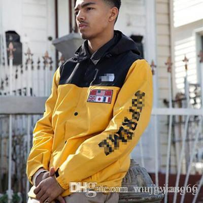 Europe and the United States street tide brand windbreaker hoodie world map jacket removable cap male luminous jacket
