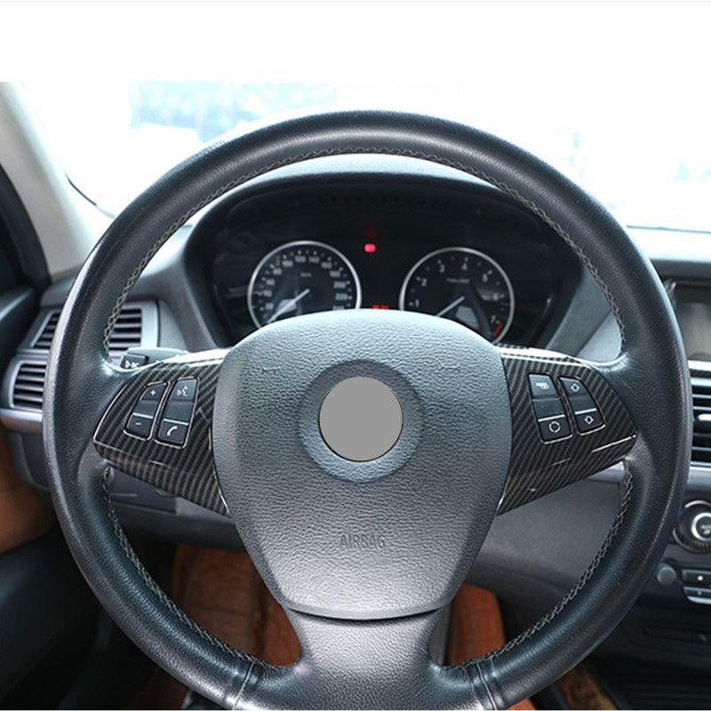 2pcs Cubierta del marco del bot/ón del volante de fibra de carbono/para B-M-W X5 E70 2008-2013 Decoraci/ón del bot/ón del volante