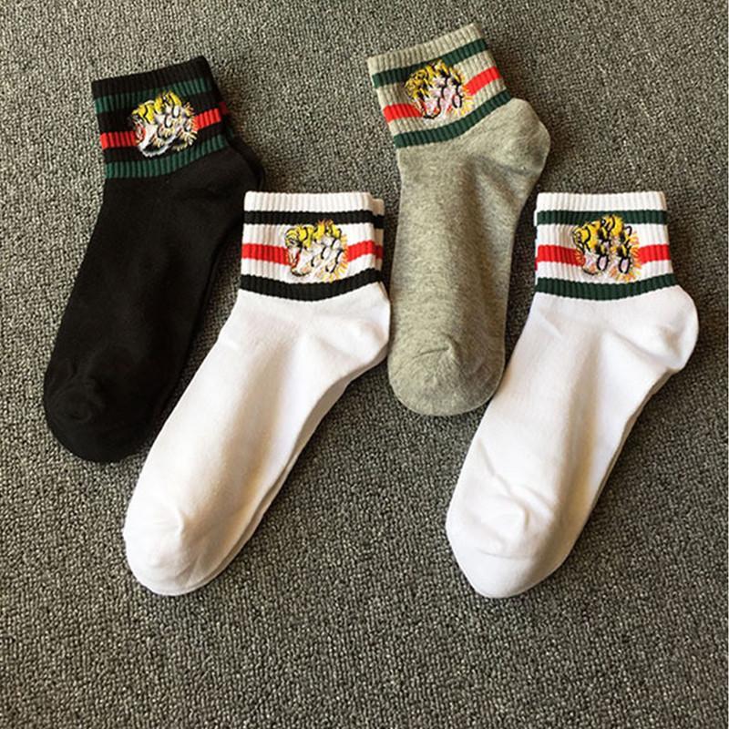 4pairs/lot Embroidery Tiger Head Socks Antibacterial Deodorant Cotton Fashion Unisex Socks 2white 1black 1grey Sport Socks