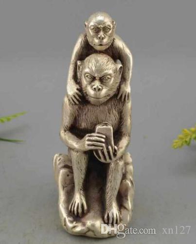 Statue de sceau de jade impérial chinois de richesse en argent singe singe singe