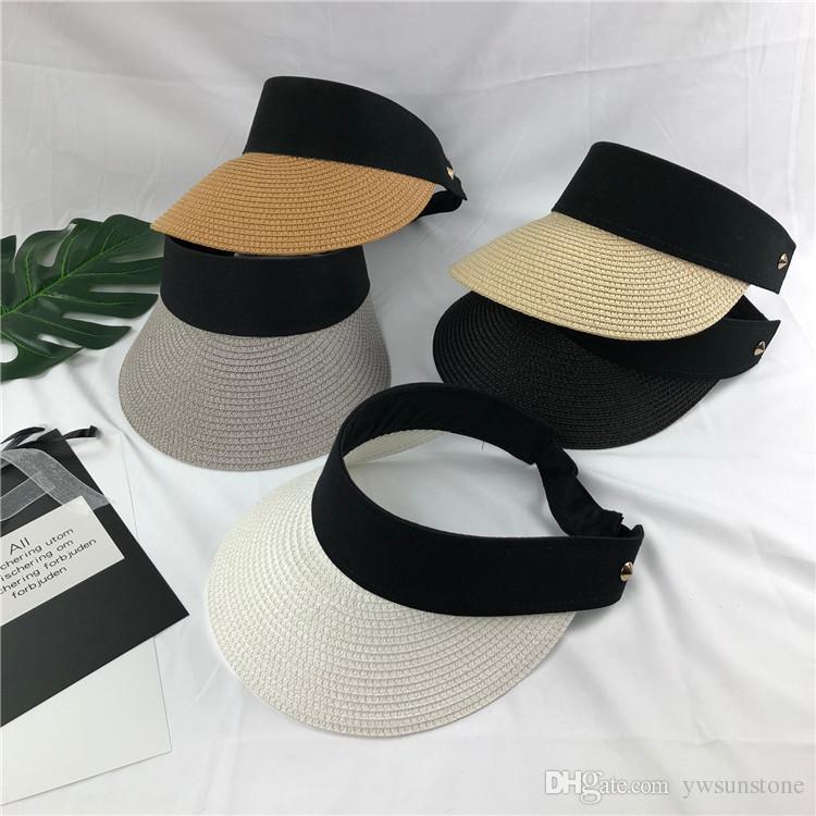 Women Straw Sun Visor Hat Wide Brim Foldable Empty Top Beach Tennis Cap Summer Fashion 10pcs/lot