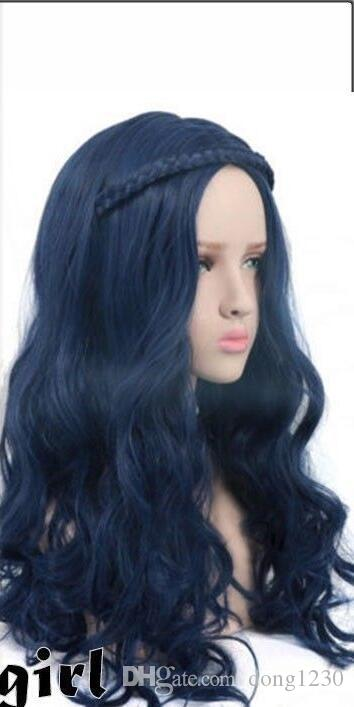 La cosse des femmes Evie longue perruque bleue Wave Cosplay Costumes Perruques pour les descendants