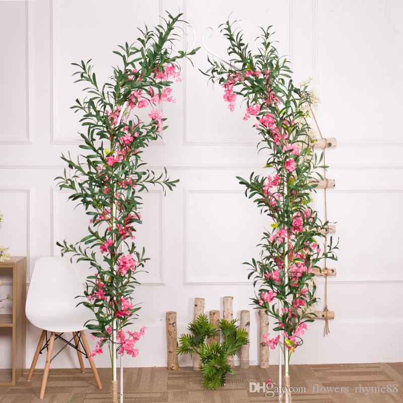 Grama artificial artificial ramo de oliveira toque real folhas verdes planta folhas de Oliveira flores Artificiais para Vaso Decoração de Casamento Em Casa