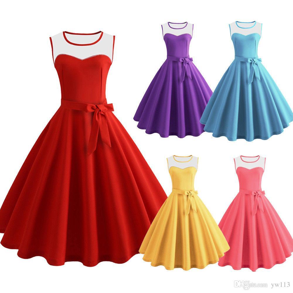 Compre Vestido De Rockabilly Dos Anos 60 50s Estilo Barato Swing Retro Vestidos De Festa à Noite De Yw113 3718 Ptdhgatecom