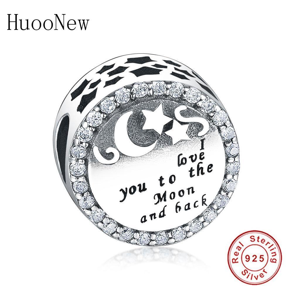 100% 925 jóias de prata esterlina eu te amo para a lua e volta pulsera talão berloque fit original pandora charme pulseira de presente