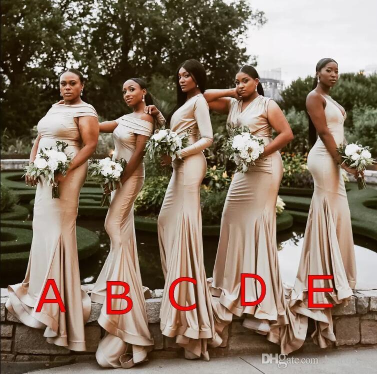 플러스 사이즈 아프리카 샴페인 2019 인어 신부 들러리 드레스 명예 복장의 하녀 공식 예복 가운 Robes de demoiselles d' hon
