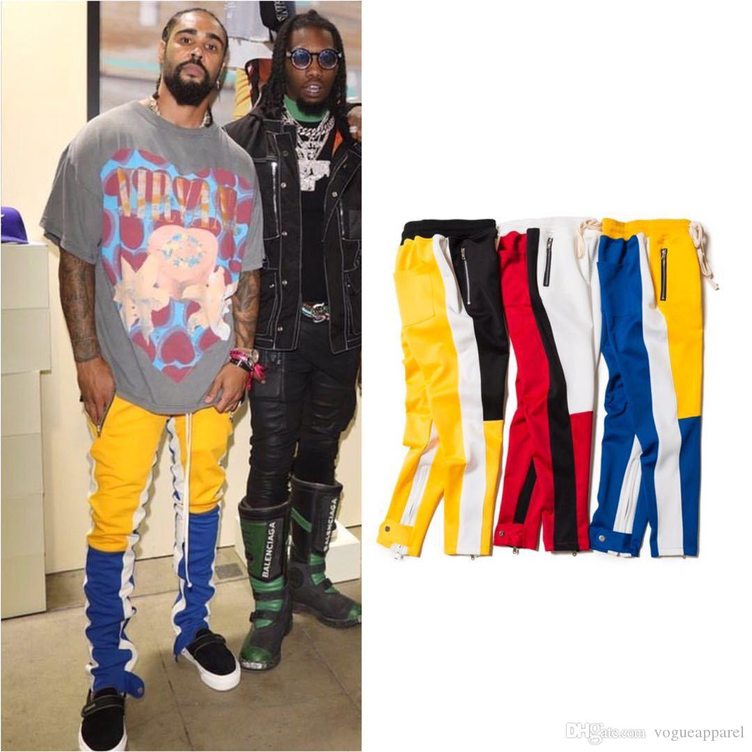 2019 Men Slim Fit Pants Spring Autumn Colors Contrast Patchwork Sports  Jogger Pants FOG Fear Of God Zipper Trousers From Vogueapparel, $80.1