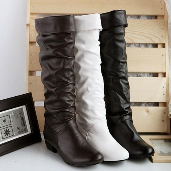 Großhandel Winter Mitte Der Wade Damen Leder Stiefel Schwarz Weiß Braun Flache Absätze Halb Stiefel Herbst Winter Schuhe Von Fwgggg, $30.16 Auf