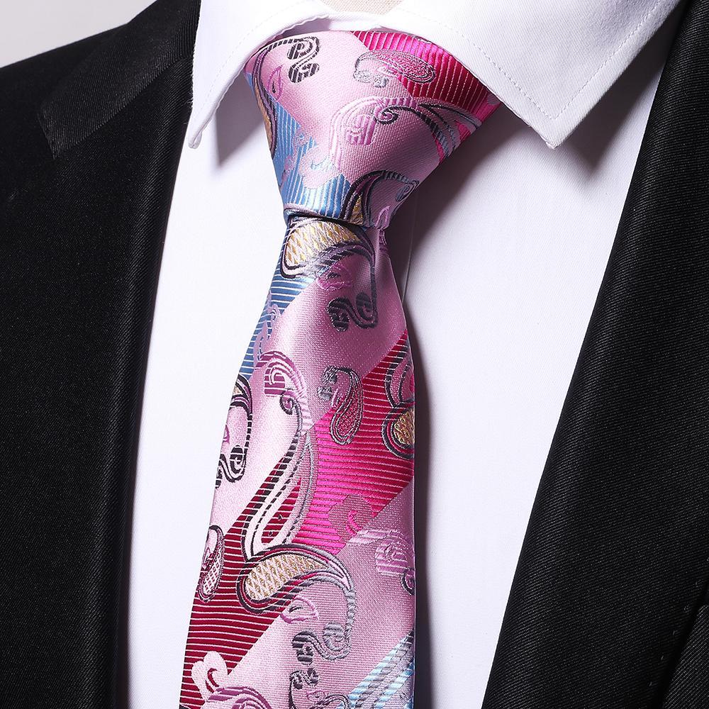Atacado 100% de seda paisley rosa laços homens 2017 casamento cravate jacquard tecido Gravata Partido Business Formal Presente de Aniversário B0005