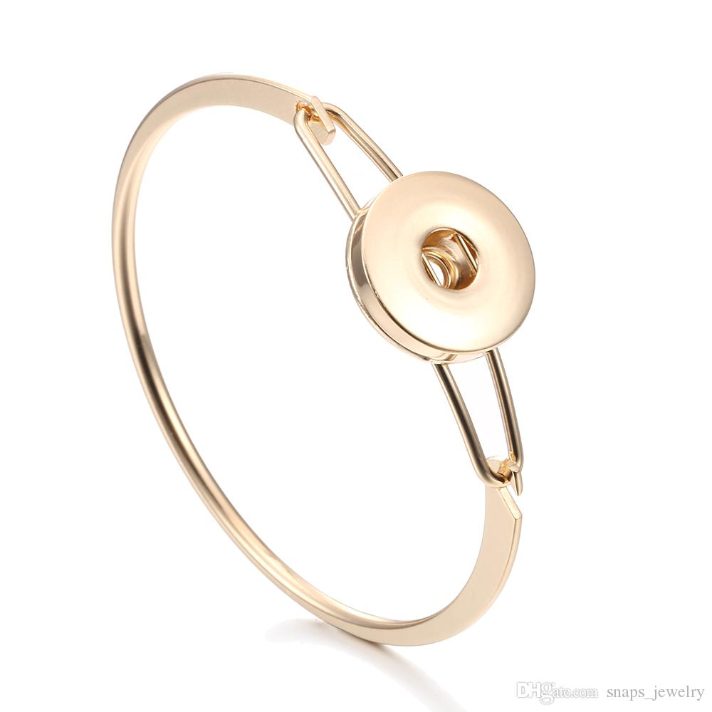Noosa morceaux en argent simple couleur or 18 mm bouton pression bracelet pour les femmes gingembre bouton pression bijoux