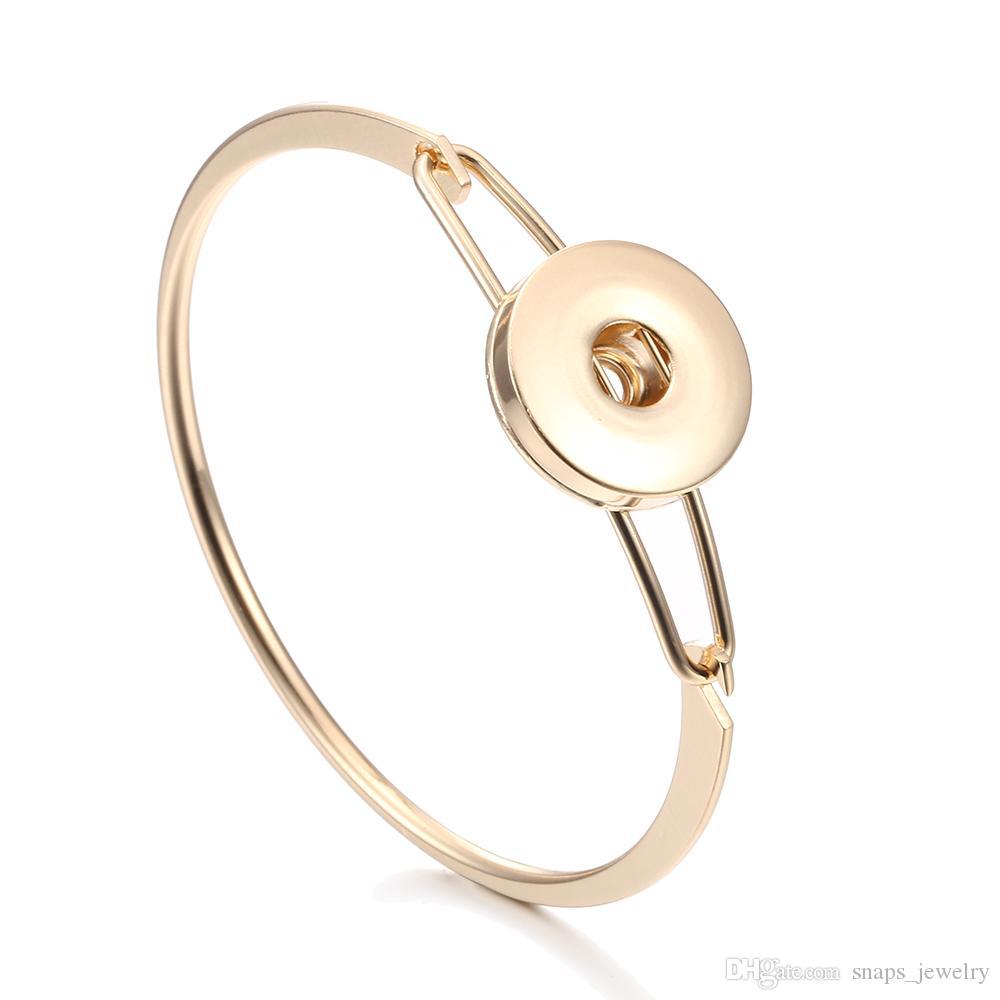 Noosa parçaları basit gümüş altın renk 18mm snap düğmesi bilezik kadınlar için zencefil snap düğmesi takı