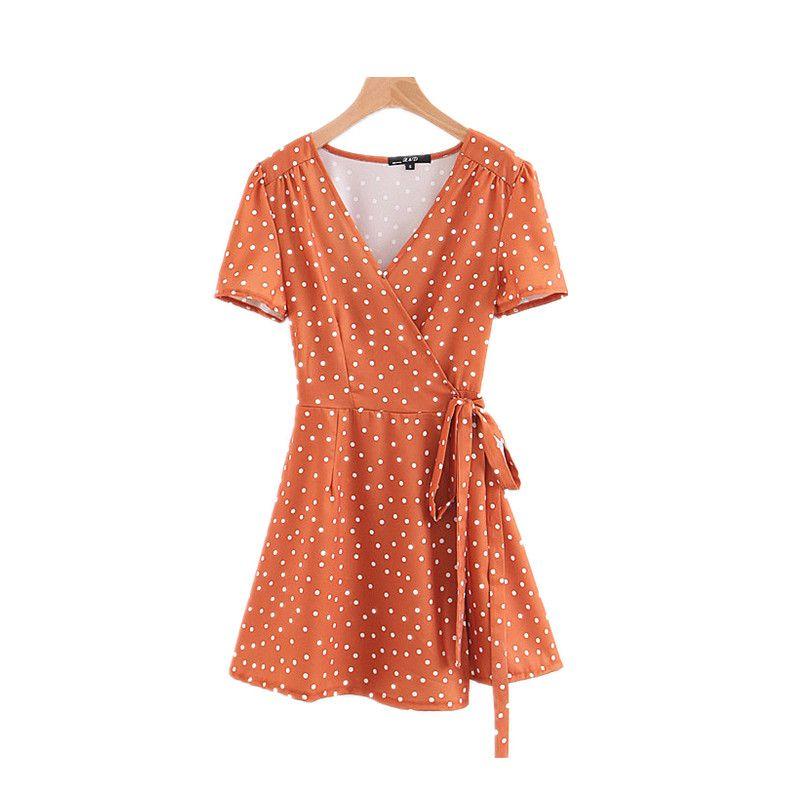 Elegant Wave Point Dress Sexy V-Neck Waist Tie Chiffon Short Sleeve Summer Women 2018 Befree Korea Causal Party Beach Dress