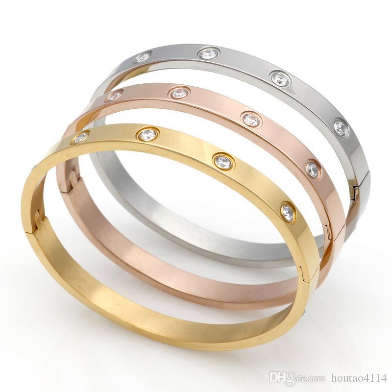 الفولاذ المقاوم للصدأ عشرة الماس فراغ تصفيح سوار الذهب 18K الكورية زوجين من الرجال والنساء مشبك سوار الحب حلقة الأبدية