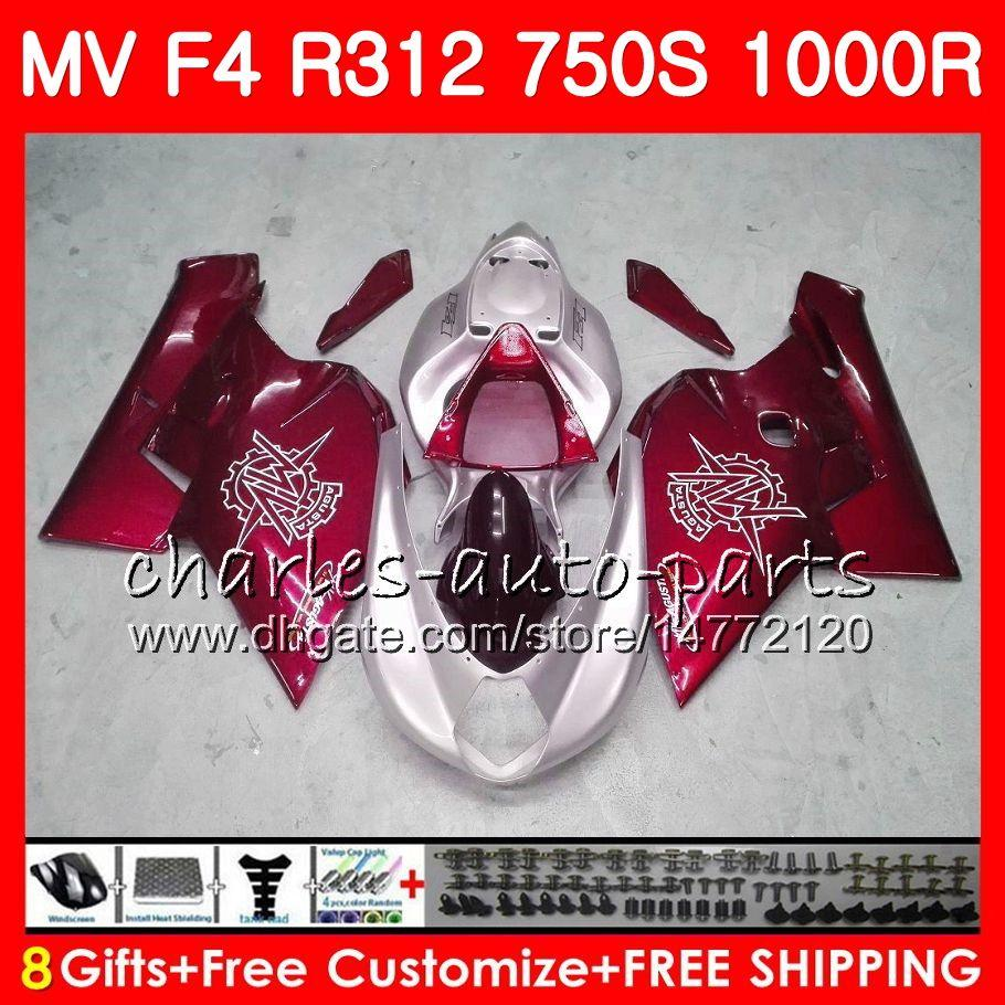 Nadwozie dla MV Agusta F4 1000R 312 1078 1 + 1 750 1000cc 05 06 102HM68 750 R312 750S 1000 R MA MV F4 2005 2006 05 06 Dark Red New Fairing