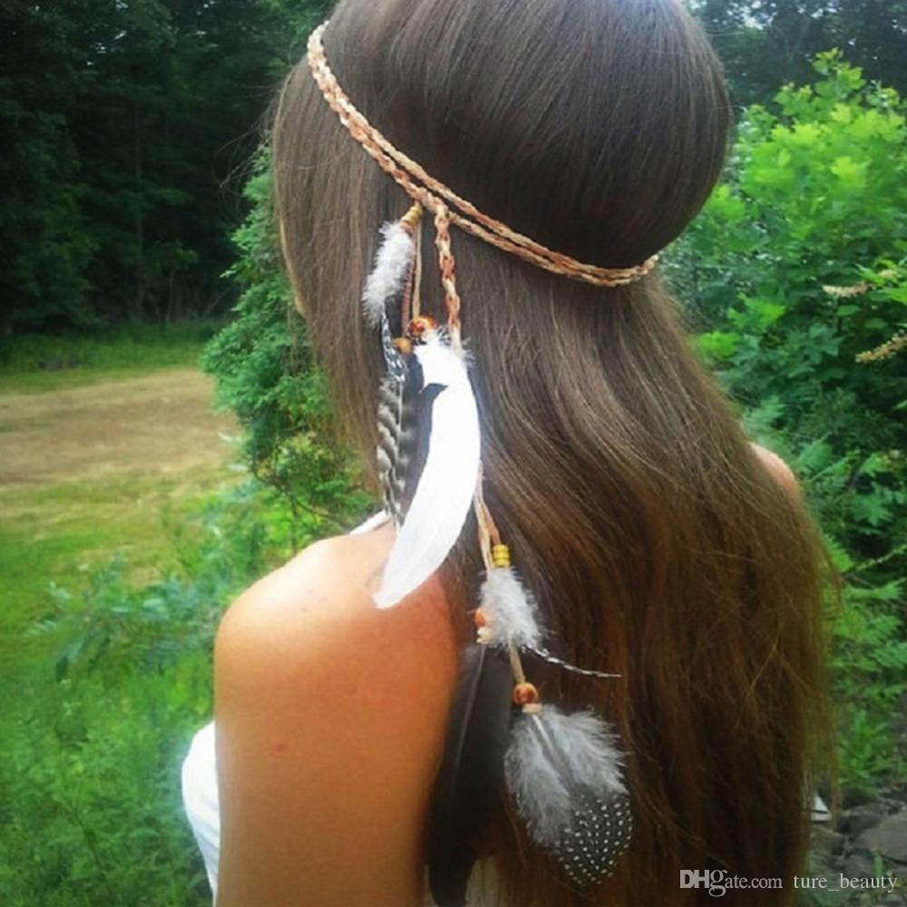 10pcs / lot Boho Indien Veer Hoofdband Hoofdtooi Haar Touw Hoofddeksels Tribal Hippie Parti Nieuwe