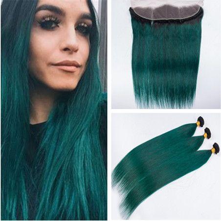 버진 인디언 인간의 머리카락 짙은 녹색 옹버 위브 번들 (Closure # 1B / Green Dark Root 옴 브레 헤어 위사 익스텐션, 레이스 Clsoure 4x4 포함)